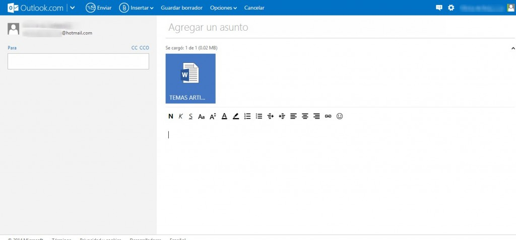 Como enviar un archivo por Outlook (Hotmail)
