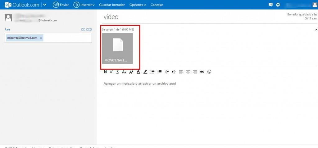 Como enviar un video por Outlook (Hotmail)