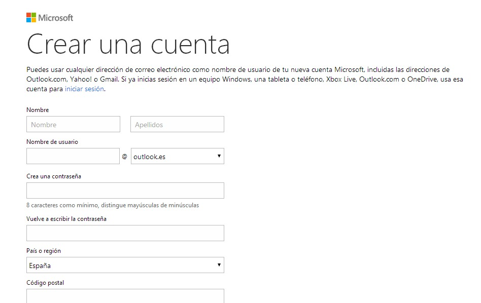 Crear Correo Outlook (Hotmail)