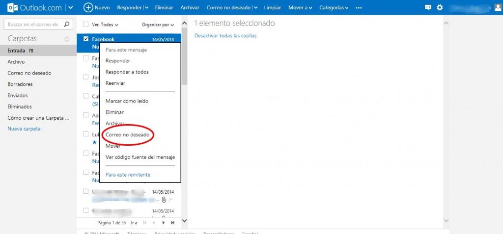 Cómo marcar como spam correos en Outlook