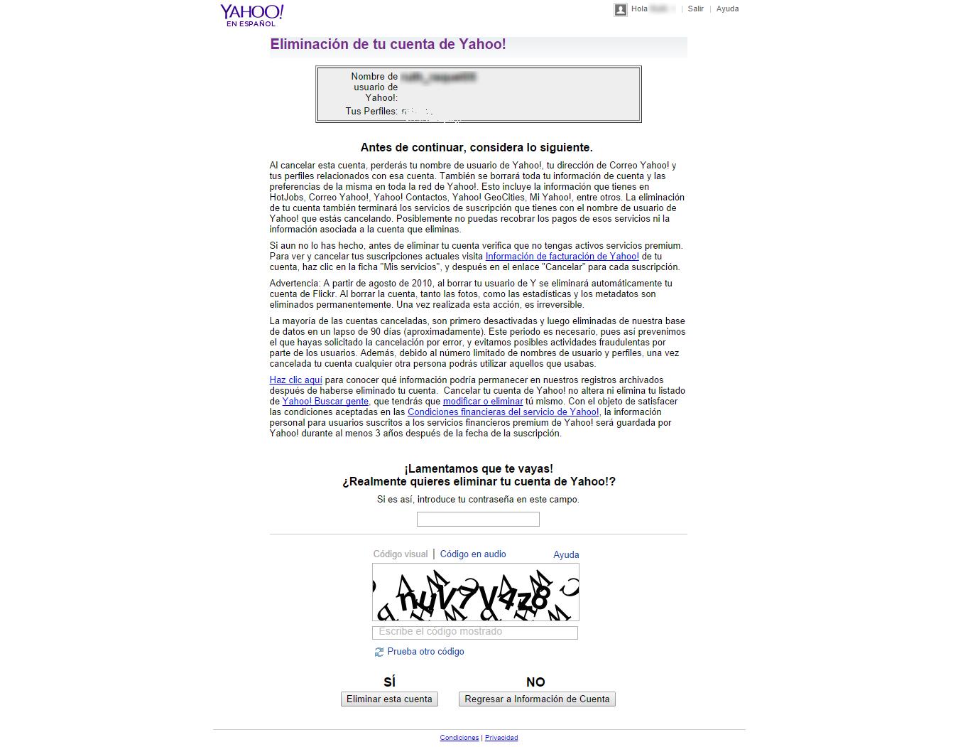 ¿Cómo cancelar, eliminar o cerrar mi cuenta de Yahoo?