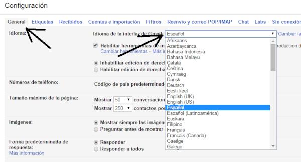 Cambiar el idioma de Gmail