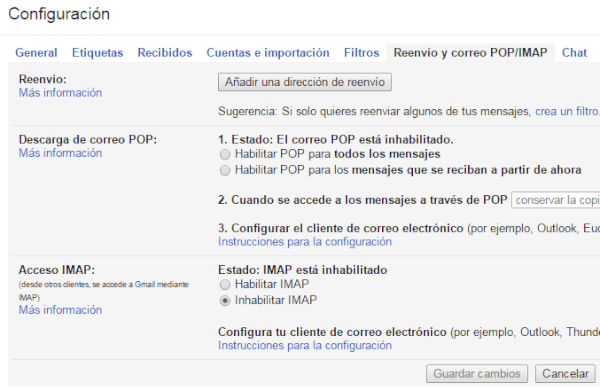 POP IMAP de Gmail