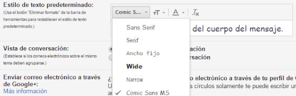 estilo de texto predeterminado gmail