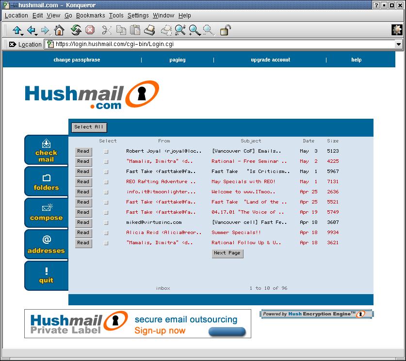 Resguarda tu Mensajes de Correo Electrónico con Hushmail