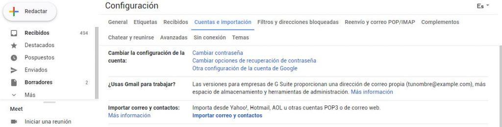 configurar correo externo gmail