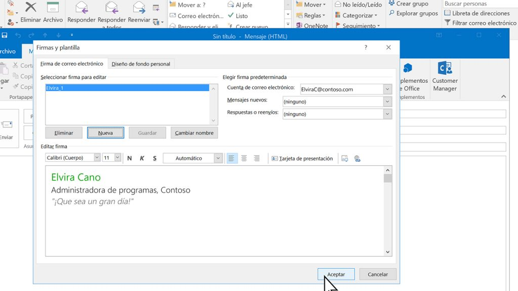 especificaciones de la firma de outlook