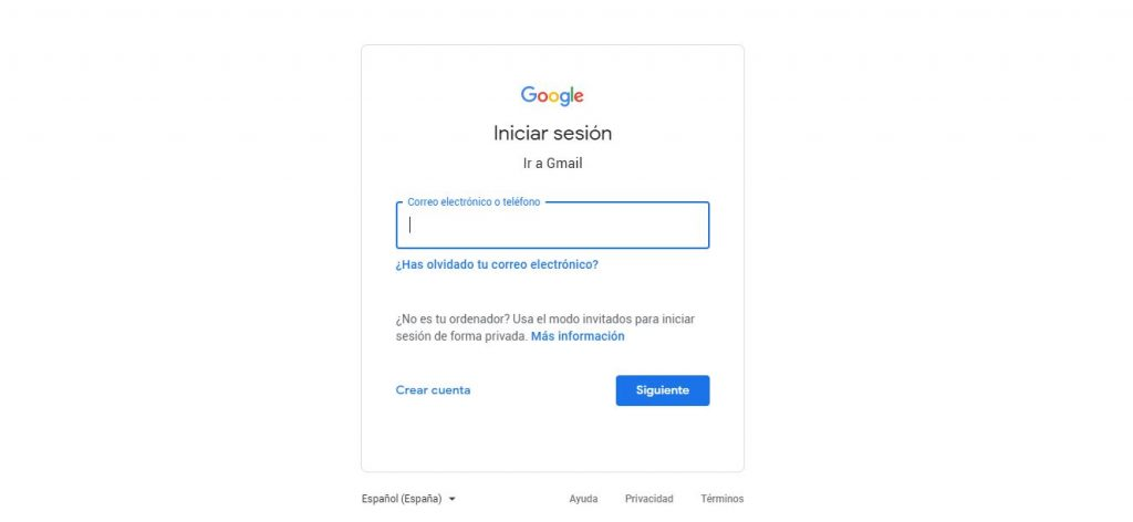 cómo iniciar sesión en gmail