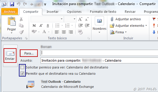 elementos del calendario compartido de outlook